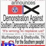 October 12: League of the South: Demonstration Against Southern Demographic Displacement (Murfreesboro and Shelbyville, TN)
