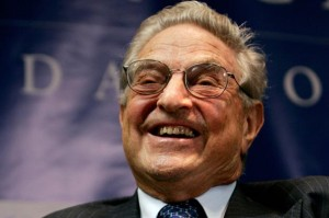 George Soros smiles at the New America Foundation-sponsored in Washington
